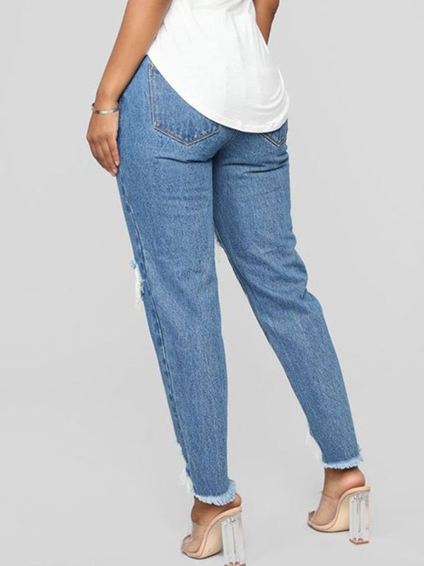 Blue Plain Denim Casual Pants