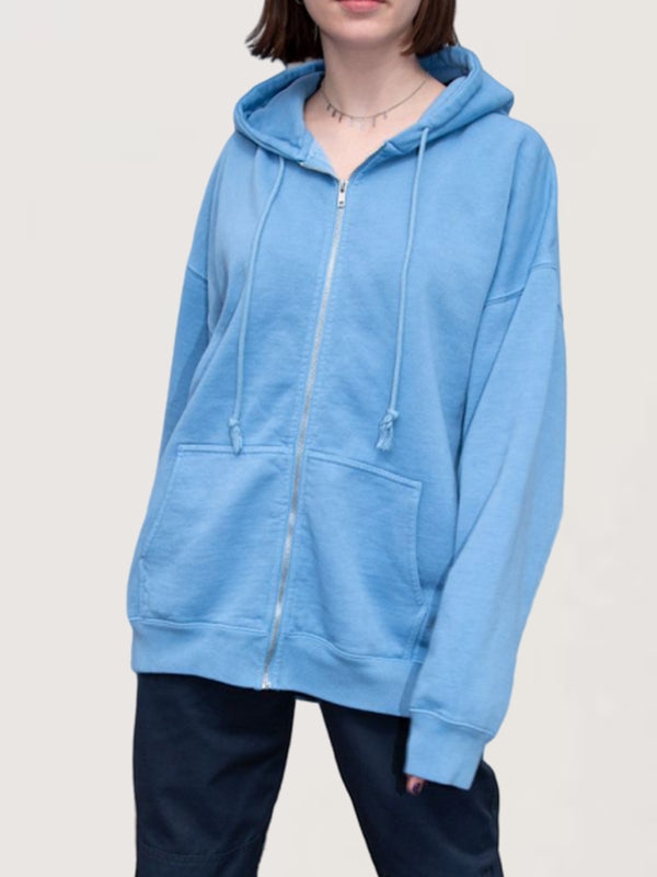 Casual Basic Daily Sports Style Hoodie Coat