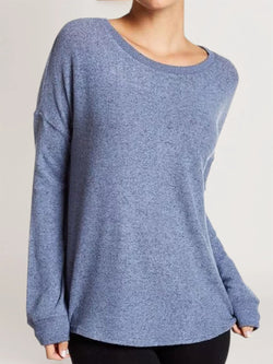 Blue Long Sleeve Cotton-Blend Solid Shirts & Tops