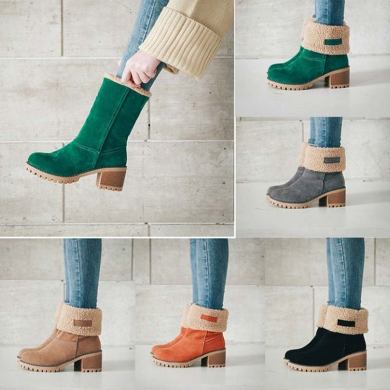 Women Plus Size Snow Boots Warm Chunky Heel Boots