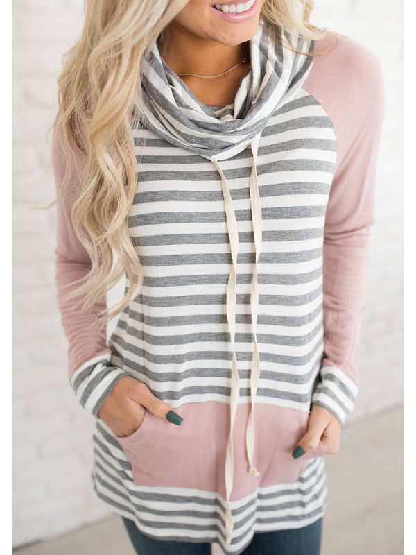 Pink Cowl Neck Pockets Long Sleeve Striped Shirts & Tops