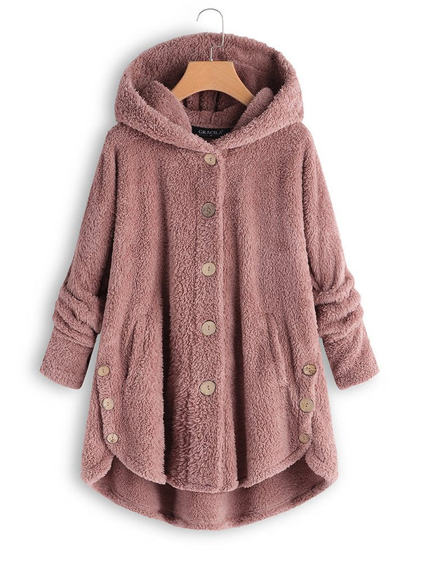 Cozy Fleece Hooded Fuzzy Asymmetrical Hem Button Coat