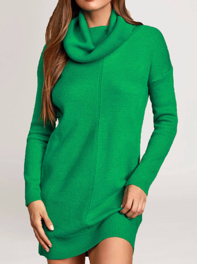Green Casual Acrylic Knitted Plus Size Sweater