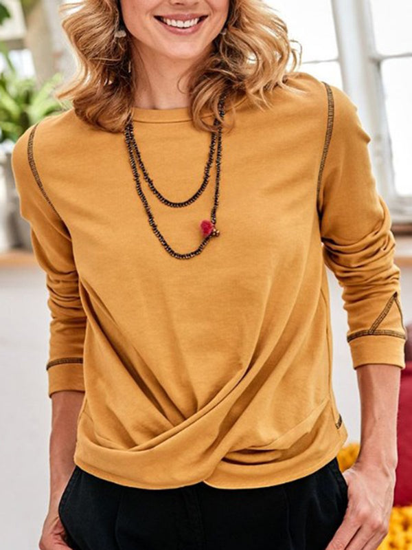 Yellow Crew Neck Casual Shirts & Tops