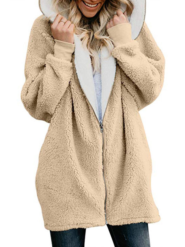 Women Teddy Bear Coats Solid Zipper Sweet Hoodie Coat