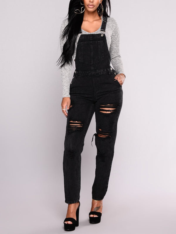 Black Cotton-Blend Plain Casual One-Pieces