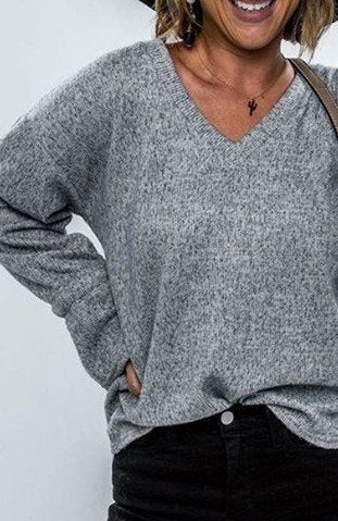 Deep Gray Plain V Neck Cotton-Blend Long Sleeve Sweater