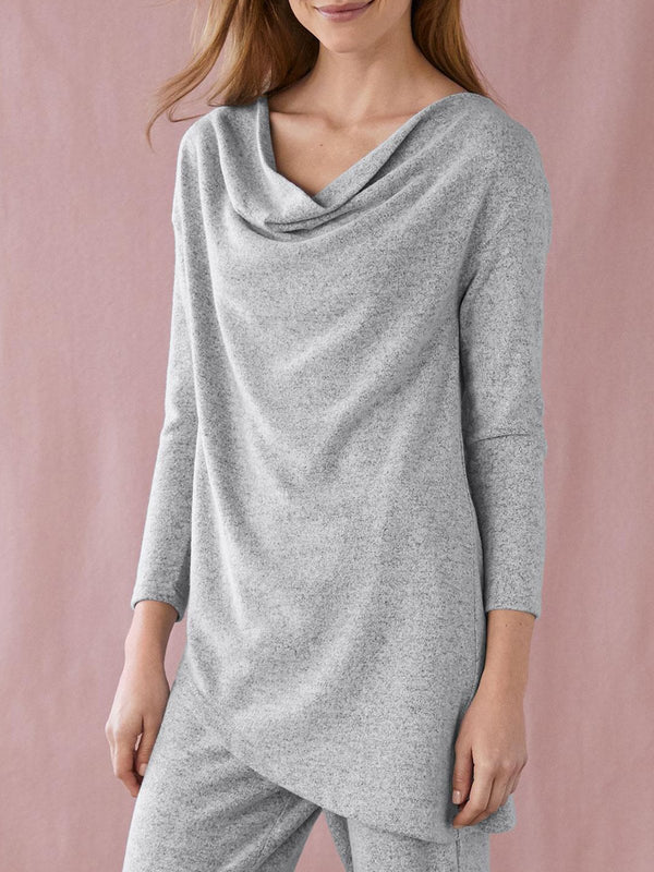 Gray Plain Casual Cowl Neck Long Sleeve Shirts & Tops