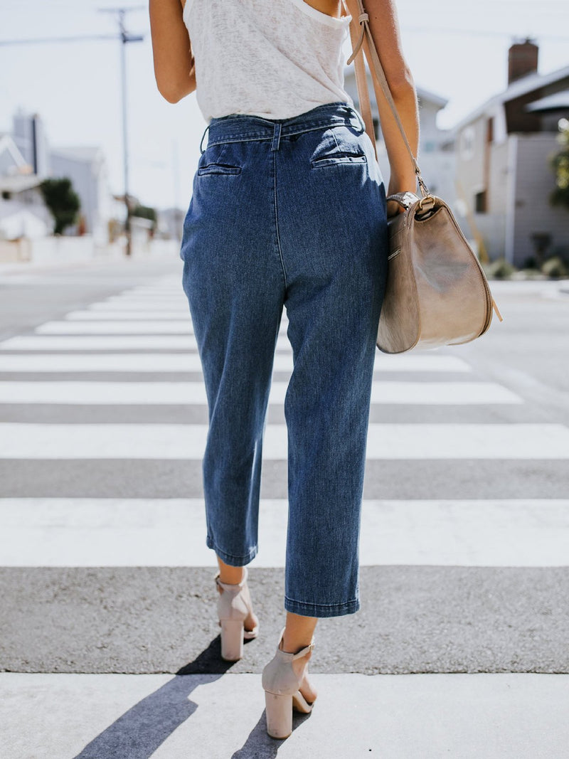 Deep Blue Casual Denim Pants