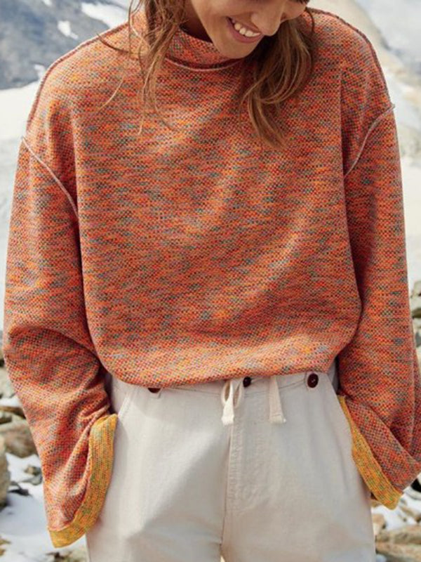 Orange Plain Long Sleeve Cotton-Blend Sweater
