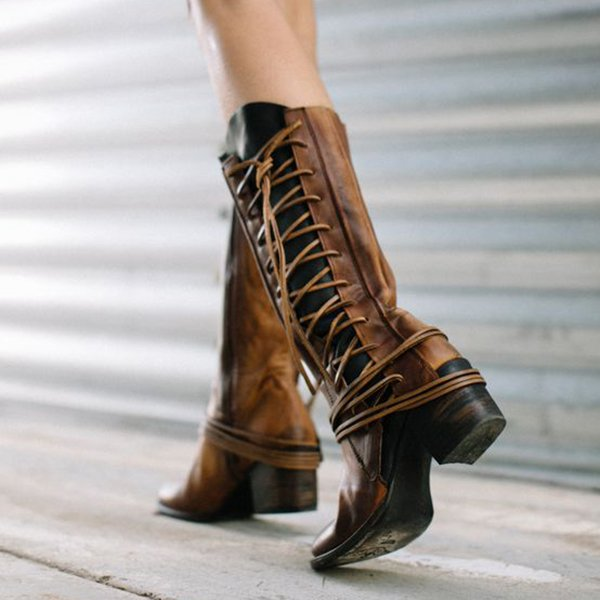 Side Lace-up Vintage Comfort Boots