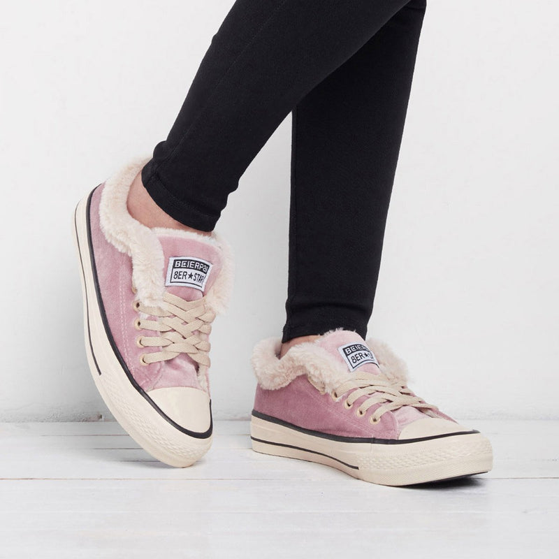 Women Suede Furry Lace Up High/Low Top Winter Sneakers
