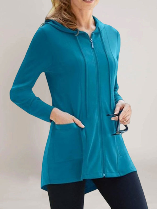 Blue Long Sleeve Plain Outerwear