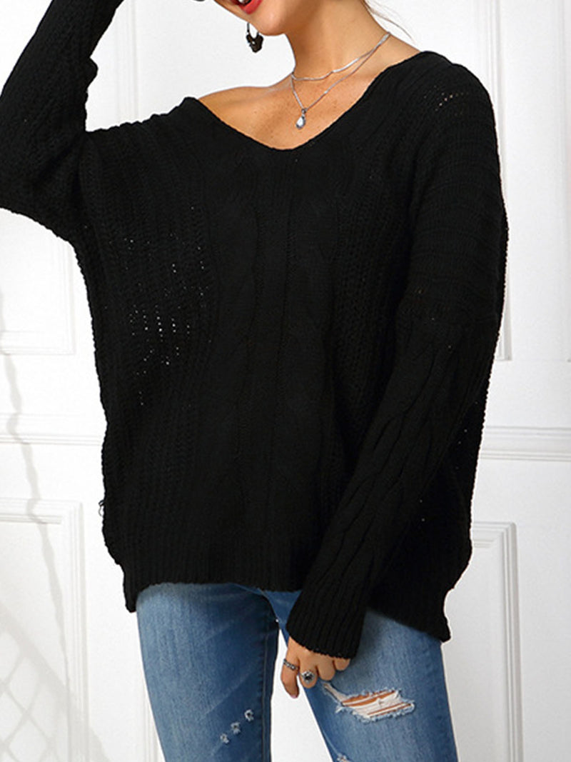 Black V Neck Casual Long Sleeve Sweater