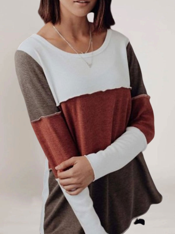 Red Long Sleeve Casual Crew Neck Sweater