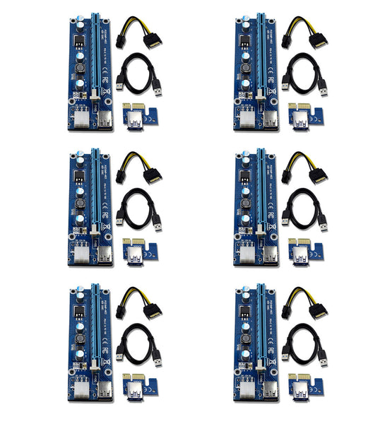 6-Pack PCIe VER 006C 16x to 1x Powered Riser for GPU