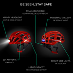 Cycling Helmet With Rechargeable Lights (Front, Back & Side Lights)