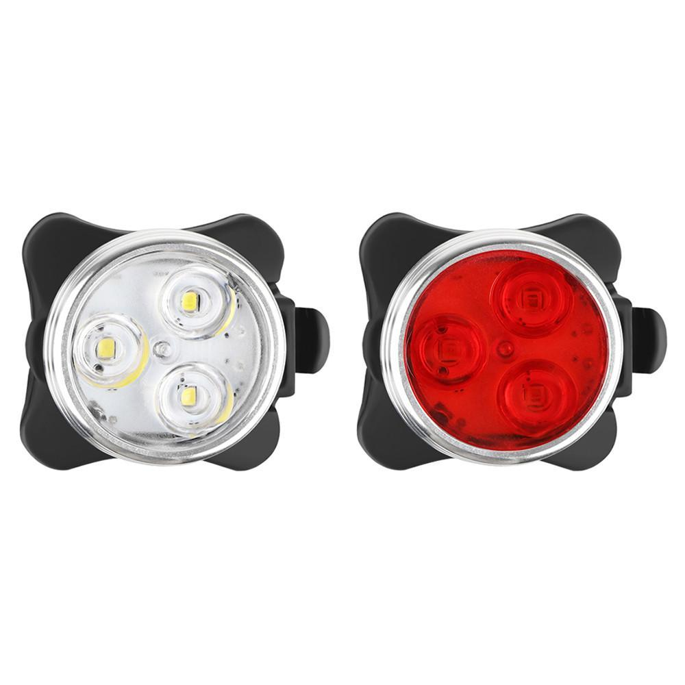 2pcs Rechargeable LED Bicycle Headlight & Taillight Combo