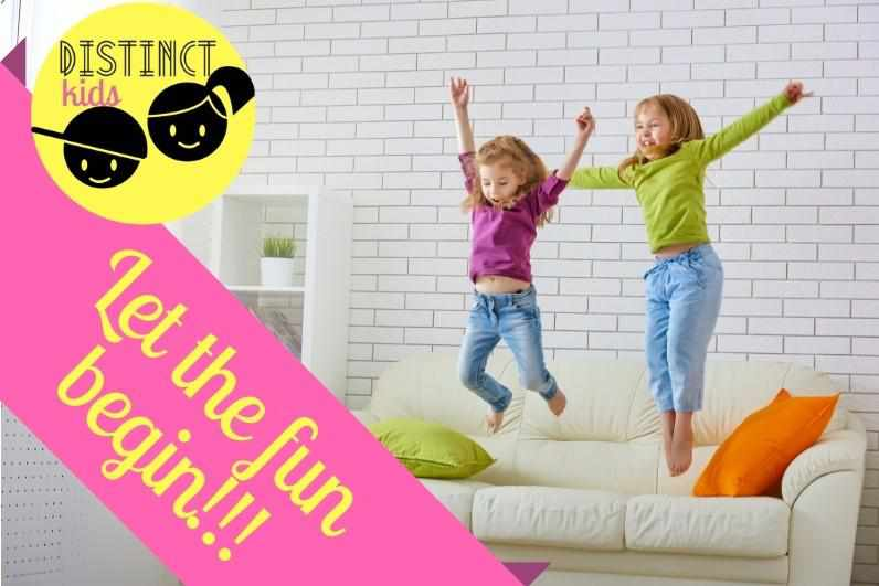 Distinct Kids Let the Fund begins image with two girls jumping on a sofa