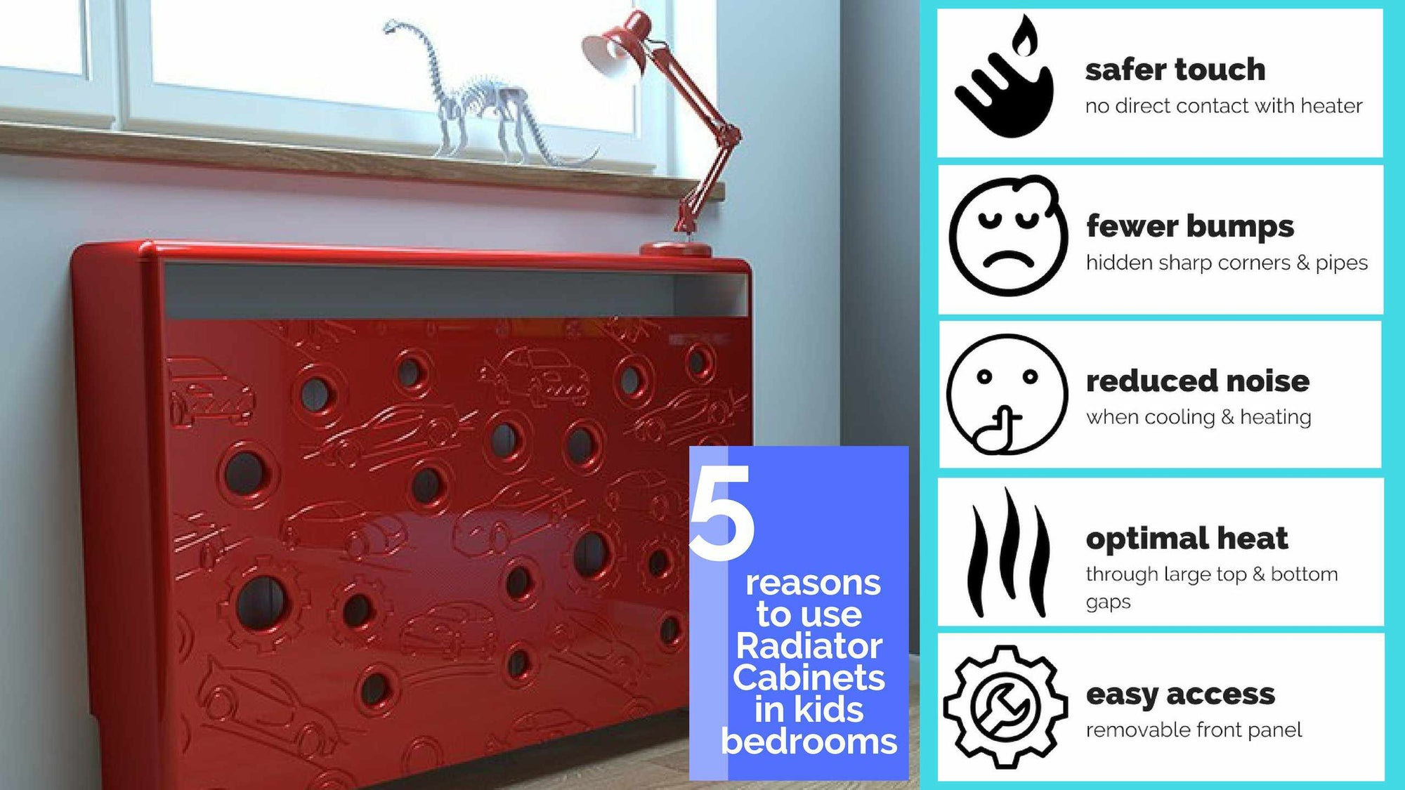 Distinct Kids Radiator Cover Cars design in Berry Red with 5 reasons why use it in Kids Bedroom