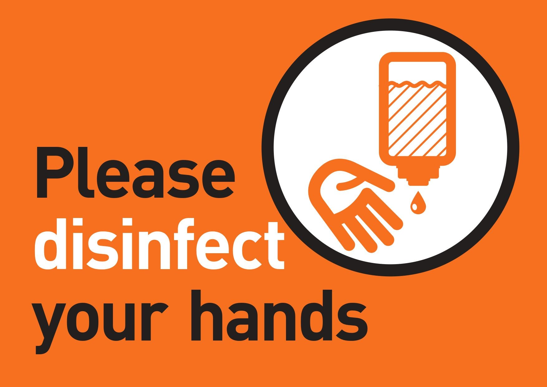Please Disinfect Your Hands FREE Sign Design Orange