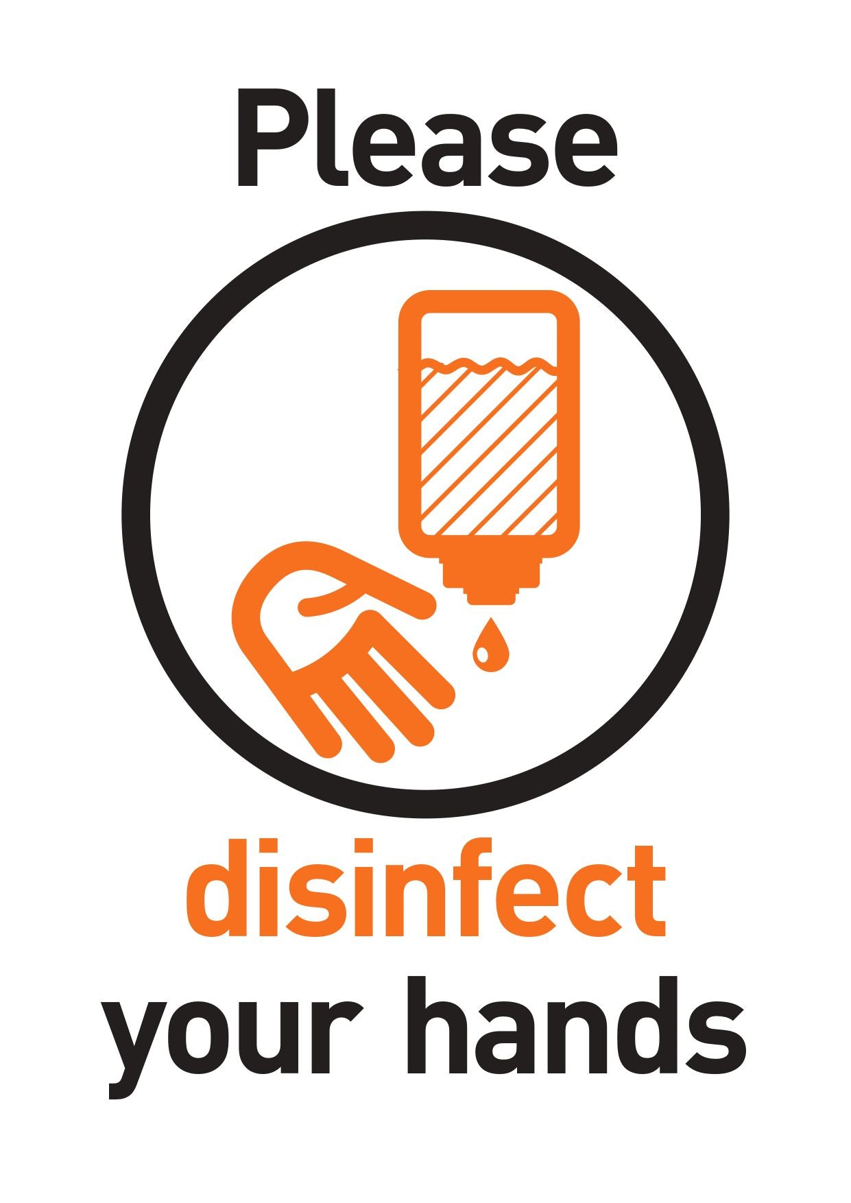 Please Disinfect Your Hands FREE Sign Design Portrait