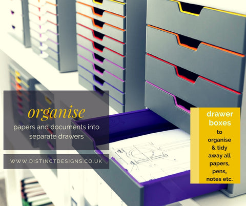 Distinc Desings Lettter trays will help you organise document into separater drawers