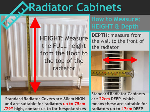 RadiatorCoversShop Distinct Kids Bespoke Radiator Cabinets Measuring Instructions - height and depth