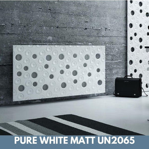 Custom-Made Removable Radiator Heater Cover ultramodern MOON Design in SATIN MATT Finish & Colours-Pure White Matt-70x70cm-Distinct Designs (London) Ltd