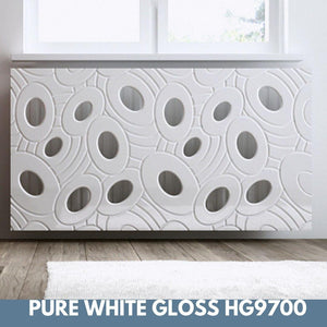 Sophisticated Radiator Cover bold GALAXY White 70 80 90 100 110 120 130 140 150 160 170 180cm long-WHITE GLOSS-70x70cm-Distinct Designs (London) Ltd