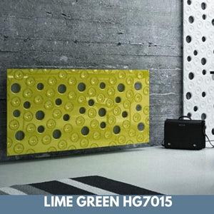 Custom-Made Removable Radiator Heater Cover with ultramodern MOON Design HIGH GLOSS Finish & Colours-Lime Green Gloss-70x70cm-Distinct Designs (London) Ltd