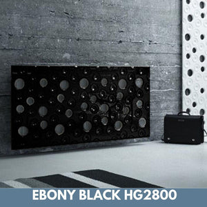 Custom-Made Removable Radiator Heater Cover with ultramodern MOON Design HIGH GLOSS Finish & Colours-Ebony Black-70x70cm-Distinct Designs (London) Ltd