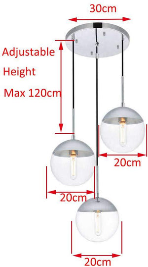 Glass Chandelier Style Pendant Ceiling 3-Lights Glass Ball Lamp in Black or Silver-Distinct Designs (London) Ltd