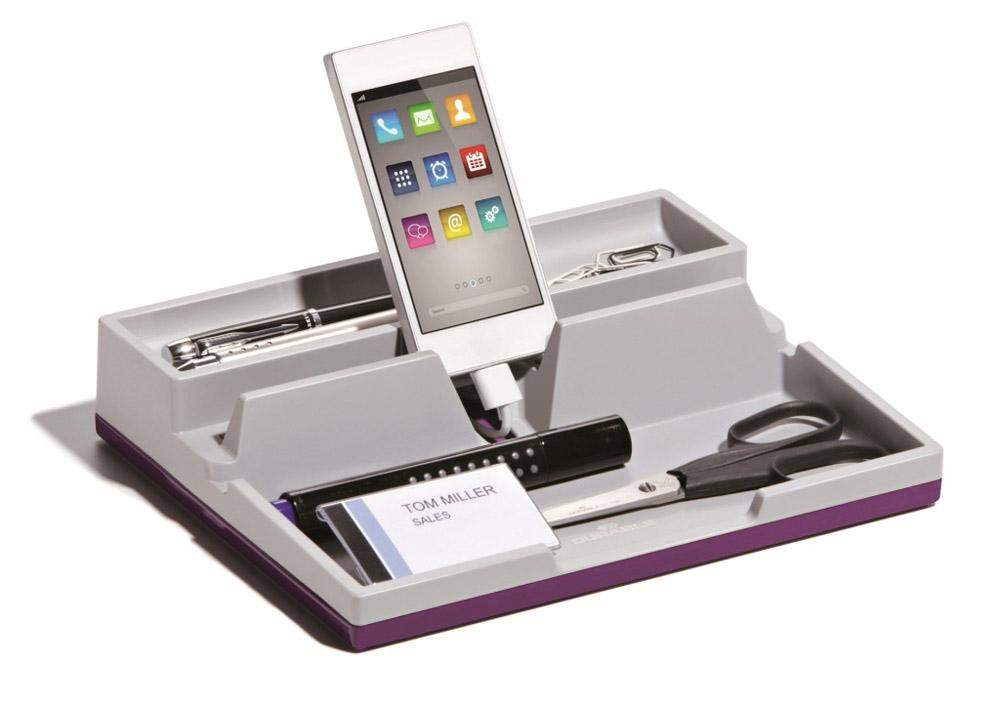 Desk Organiser Stationery Storage Tidy Tray with inbuilt Phone / Tablet stand & cable management-Purple-Distinct Designs (London) Ltd