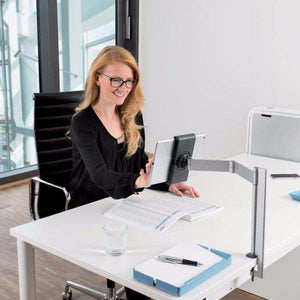 "Premium Quality Aluminium Desk Worktop Clamp with Extendable Arm & 360° Rotatable 7-13""Tablet Holder-Distinct Designs (London) Ltd"