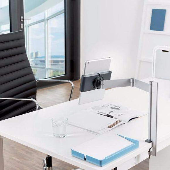 home office desk worktops. Desk Table Worktop Clamp With Extendable Arm Used In A Home Office Girl Working Worktops