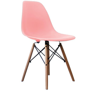Classic Mid-Century Design Dining Office Light Pastel Pink Chair with braced Wooden Legs-Distinct Designs (London) Ltd