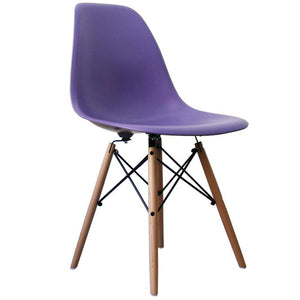 Classic Mid-Century Design Dining Office Iris Purple Chair with braced Wooden Legs-Distinct Designs (London) Ltd
