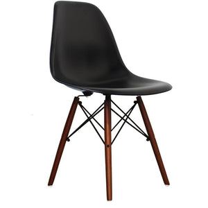 Classic Mid-Century Design Dining Office Black Chair with braced Wooden Legs-Distinct Designs (London) Ltd
