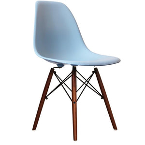 Classic Mid-Century Design Dining Office Sky Blue Chair with braced Wooden Legs-Distinct Designs (London) Ltd