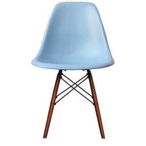 Classic Mid-Century Design Dining Office Sky Blue Chair with braced Wooden Legs-Walnut-Distinct Designs (London) Ltd