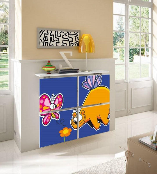 Children's Radiator Cabinet Cover CARTOON Dino & Butterfly design for Kids Bedroom Nursery Playroom-75cm-40cm-Distinct Designs (London) Ltd