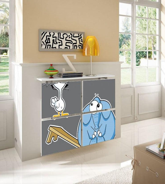 Children's Radiator Cabinet Cover CARTOON Duck & Elly Bench Friends Kids Bedroom Nursery Playroom-75cm-40cm-Distinct Designs (London) Ltd