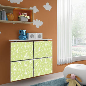 Children Radiator Cabinet Cover PASTEL Green Boats design for Kids Bedroom Nursery Playroom-75cm-40cm-Distinct Designs (London) Ltd