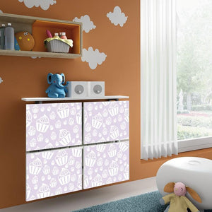 Children Floating Radiator Cabinet Cover PASTEL Purple Cupcakes design Kids Bedroom Nursery Playroom-75cm-40cm-Distinct Designs (London) Ltd