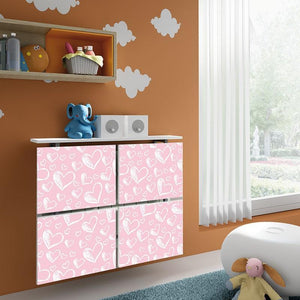 Children Floating Radiator Cabinet Cover Pastel Pink Hearts design for Kids Bedroom Nursery Playroom-75cm-40cm-Distinct Designs (London) Ltd