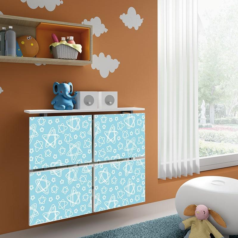 Children Floating Radiator Cabinet Cover Pastel Aqua Stars design for Kids Bedroom Nursery Playroom-75cm-40cm-Distinct Designs (London) Ltd