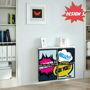 Children Teens Floating Radiator Cabinet Cover RETRO COMIC designs for Kids Bedroom Nursery Playroom-Distinct Designs (London) Ltd