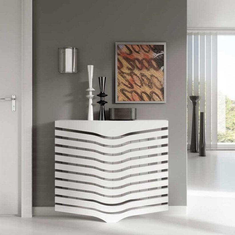 Contemporary Floating White Radiator Heater Cover GEOMETRIC CHEVRON design with shelf Ref RCGO249-75cm-60cm-Distinct Designs (London) Ltd
