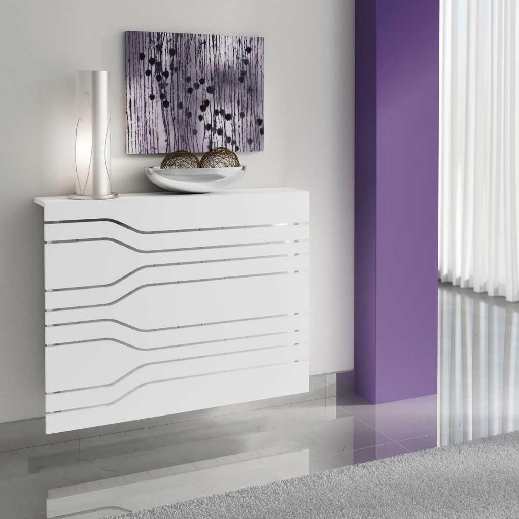 Modern Floating White Radiator Heater Cover MINIMAL STRIPE design with Integrate shelf Ref RCMN252-75cm-60cm-Distinct Designs (London) Ltd